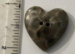Petoskey Stone Heart Button Studio button Sew thru