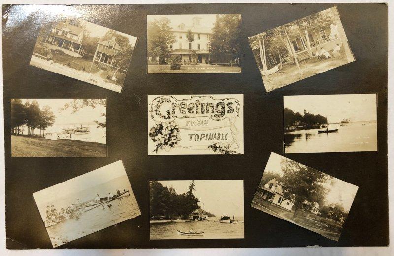 Topinabee Michigan RPPC Multi View Tavern Boats Mi 1912