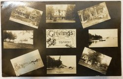 Topinabee Michigan RPPC Multi View Tavern Boats Mi 1912