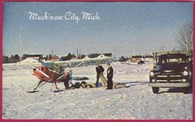 Mackinac Island Mackinaw City Mi Postcard Pontoon Airplane Chevy truck