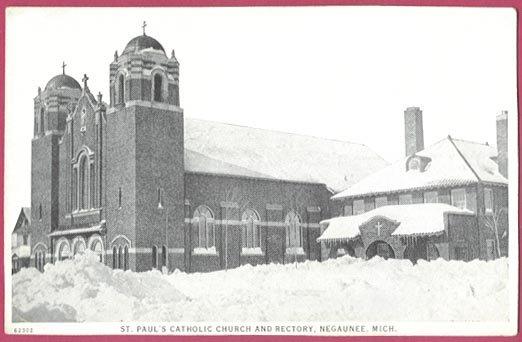 Image 0 of Negaunee Mi Postcard St Paul's Catholic Church and Rectory Snow Winter B&W