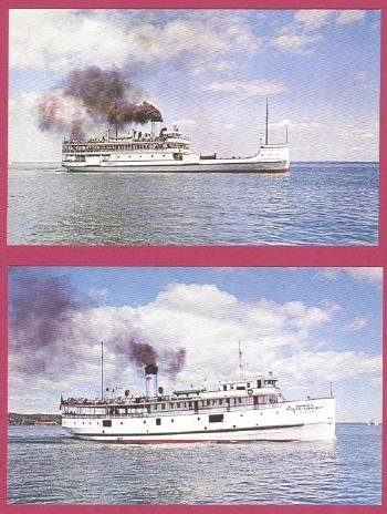2 Michigan Postcards Ferry Boats Mackinac Island