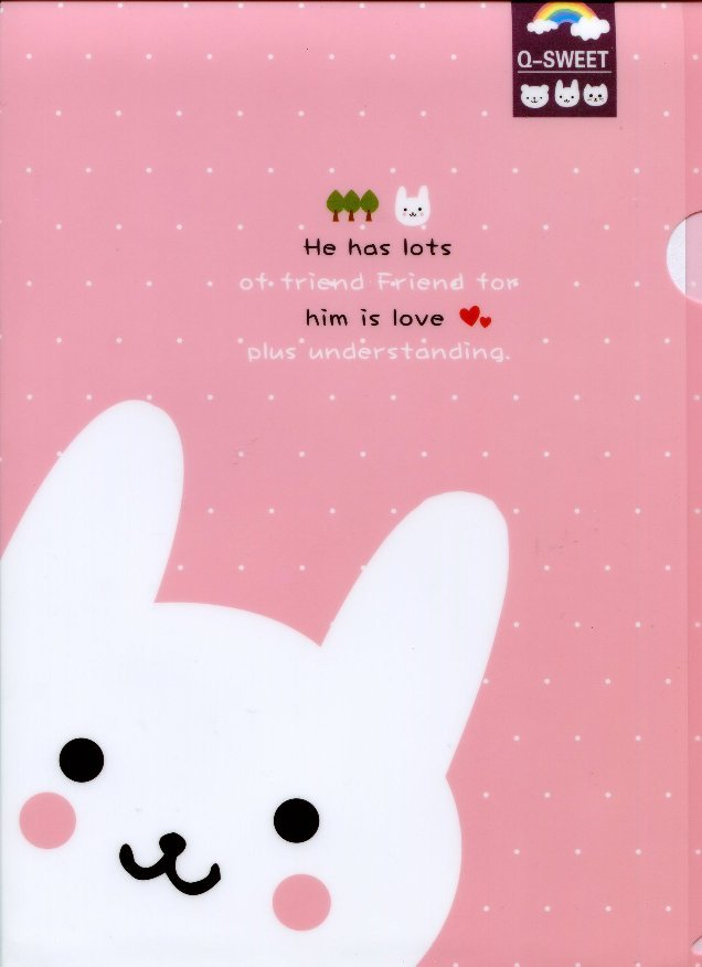 Image 0 of Gimen Q-Sweet Rabbit A4 Plastic File Folder #1