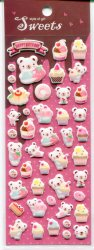 Tianke Bear Sponge Sticker Sheet #1 (I0914)