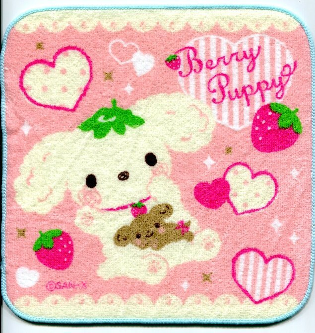 Image 0 of San-X Berry Puppy Dog Face Towel Wash Cloth #2 (T0766)
