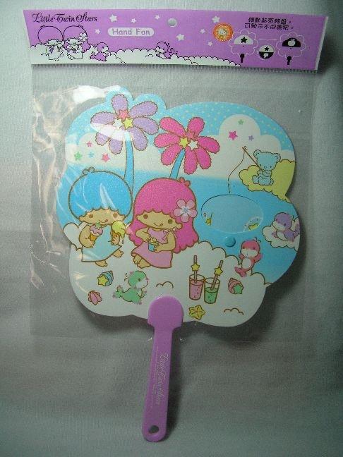 Image 0 of Sanrio Little Twin Stars Die Cut Plastic Hand Fan #1