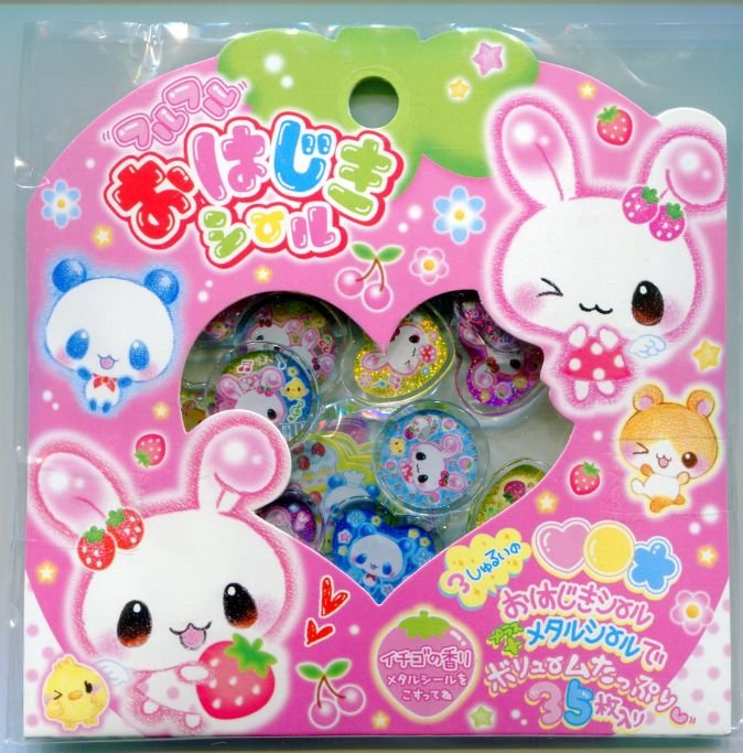 Image 0 of Japan Q-Lia Rabbit with Strawberry 35 Pieces Sticker Set Sack (I0617)