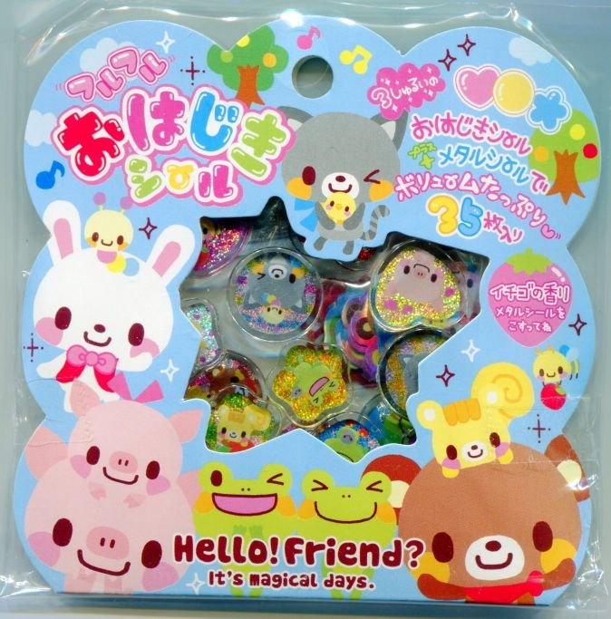 Image 0 of Japan Q-Lia Hello Friend 35 Pieces Sticker Set Sack (I0619)