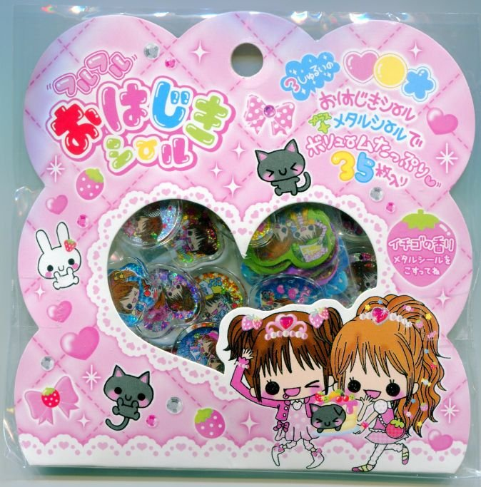 Image 0 of Japan Q-Lia Two Girls 35 Pieces Sticker Set Sack (I0620)
