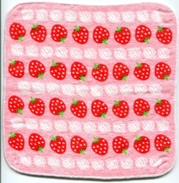 Image 0 of Japan Strawberry Face Towel Wash Cloth #1 (T0545)