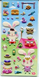 Dream Capsule Bunny King Changing Clothes Sponge Sticker Sheet #1 (I1070)