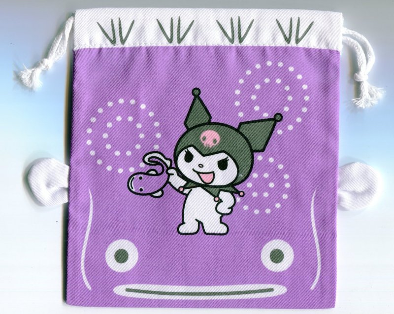 Image 0 of Sanrio Kuromi Catfish Cotton Drawstring Bag #2 (AD0150)