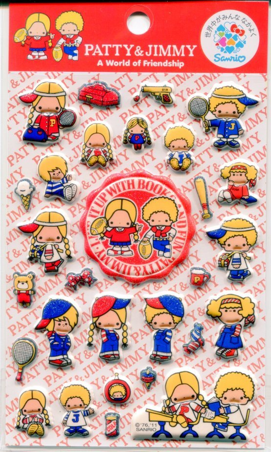 Image 0 of Sanrio Patty & Jimmy A World of Friendship Sponge Sticker Sheet #1 (I1132)