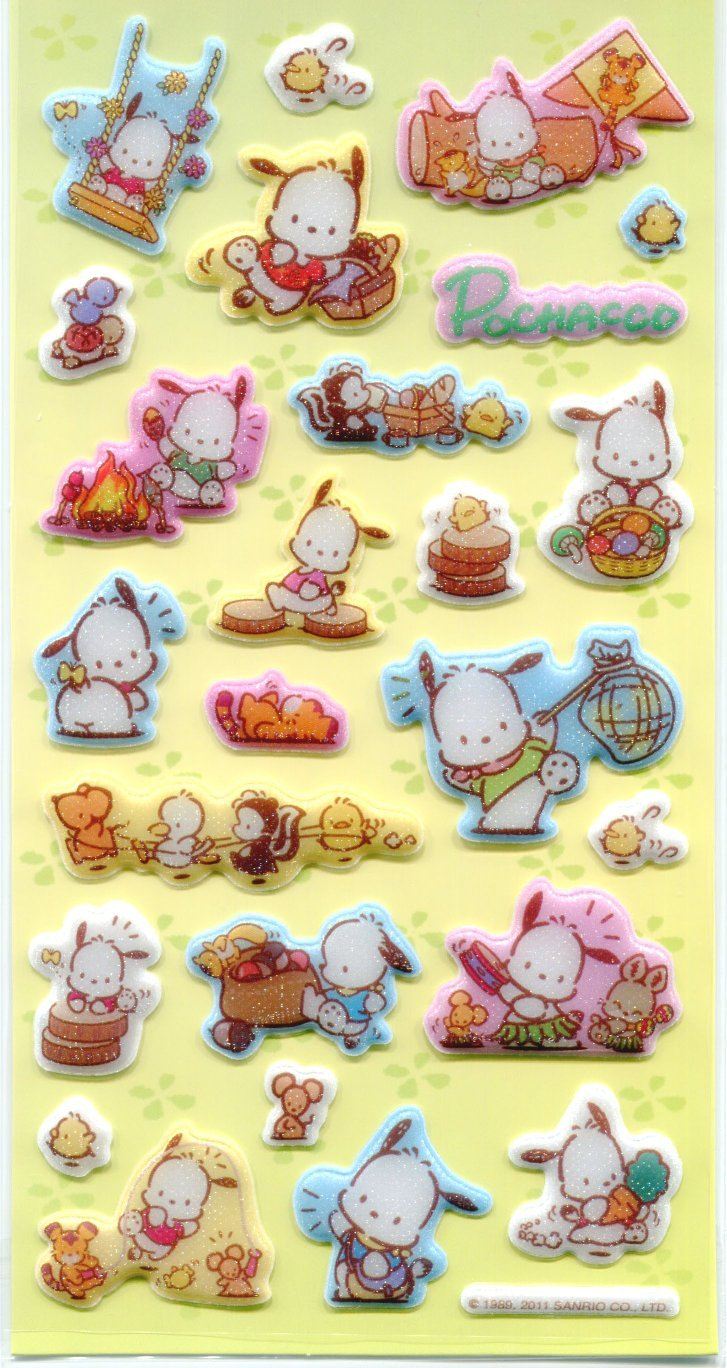 Image 0 of Sanrio Pochacco Shiny Sponge Large Sticker Sheet #1 (I1143)