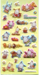 Thumbnail of Sanrio Pochacco Shiny Sponge Large Sticker Sheet #1 (I1143)