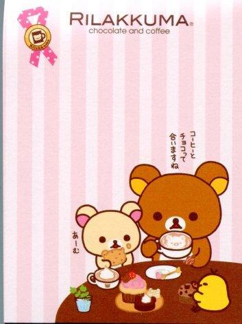 Image 1 of San-X Rilakkuma Relax Bear 2 Design Mini Memo Pad #26 (Chocolate Coffee)(M1024)