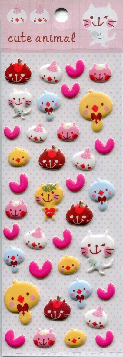Image 0 of Tianke Cute Animal Sponge Sticker Sheet #1 (I1198)
