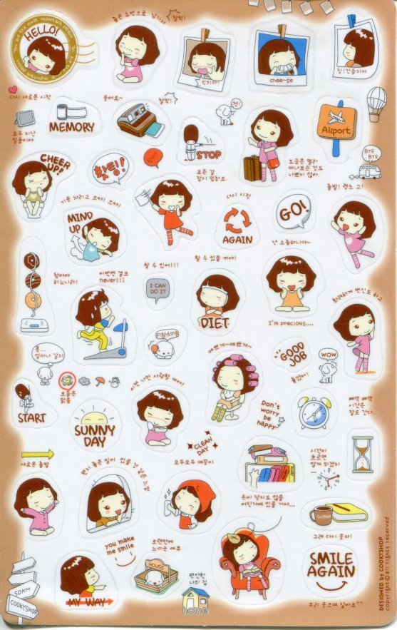 Image 0 of Korea Cookys Girl Hello Day Deco Sticker Sheet Part 3 #1 (I1222)