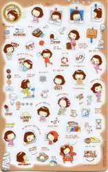 Thumbnail of Korea Cookys Girl Hello Day Deco Sticker Sheet Part 3 #1 (I1222)