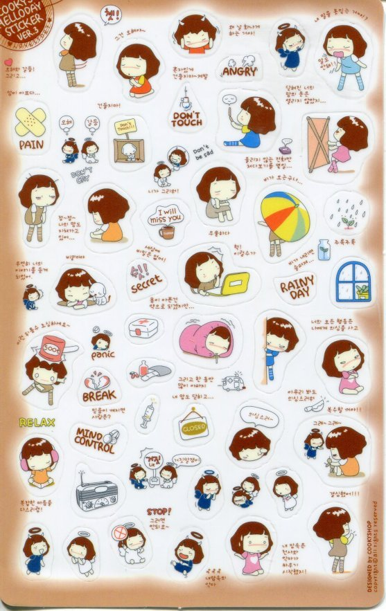 Image 0 of Korea Cookys Girl Hello Day Deco Sticker Sheet Part 3 #2 (I1223)