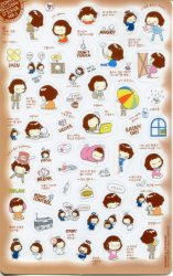 Thumbnail of Korea Cookys Girl Hello Day Deco Sticker Sheet Part 3 #2 (I1223)