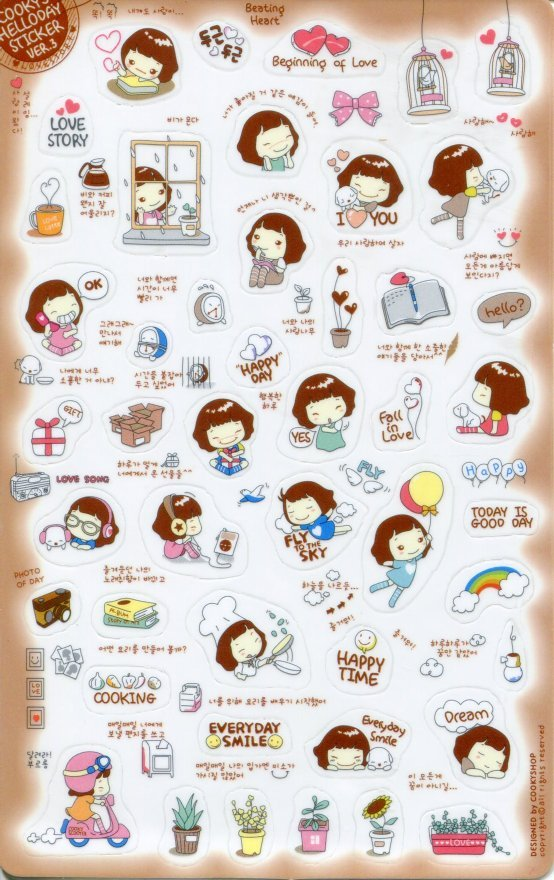Image 0 of Korea Cookys Girl Hello Day Deco Sticker Sheet Part 3 #3 (I1224)