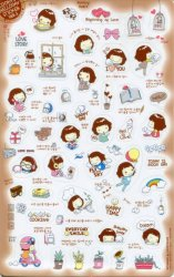 Thumbnail of Korea Cookys Girl Hello Day Deco Sticker Sheet Part 3 #3 (I1224)