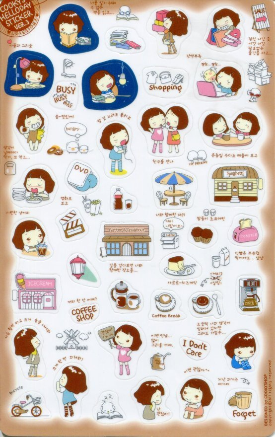Image 0 of Korea Cookys Girl Hello Day Deco Sticker Sheet Part 3 #4 (I1225)