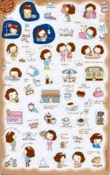 Thumbnail of Korea Cookys Girl Hello Day Deco Sticker Sheet Part 3 #4 (I1225)