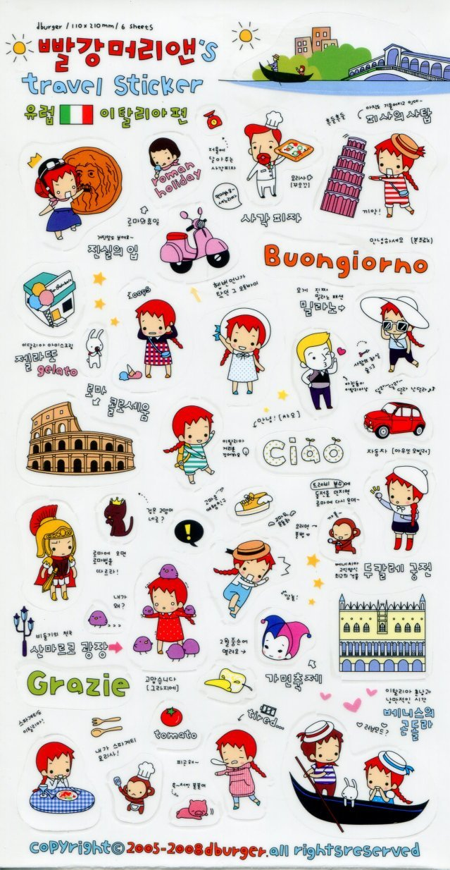 Image 0 of Korea Anne's Europe Travel Deco Sticker Sheet #3 (I1229)