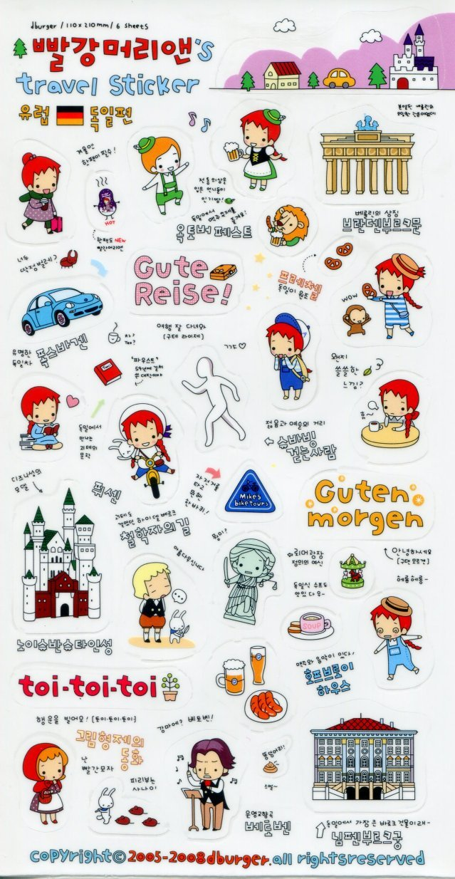 Image 0 of Korea Anne's Europe Travel Deco Sticker Sheet #4 (I1230)