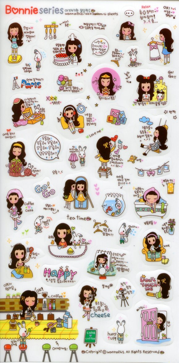 Image 0 of Korea Bonnie Girl Deco Sticker Sheet #2 (I1240)