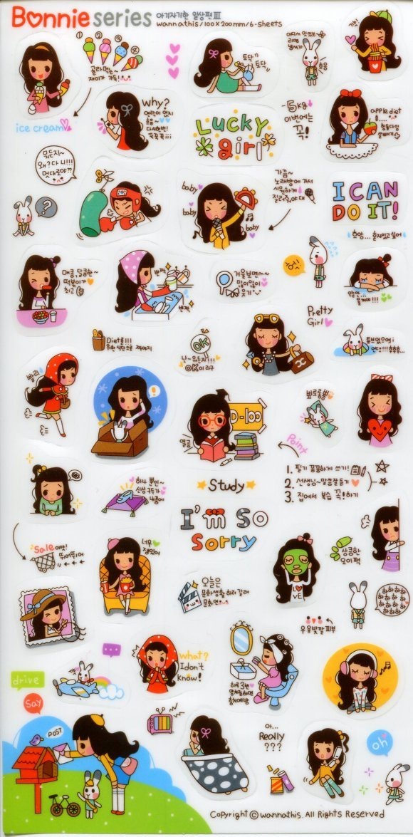 Image 0 of Korea Bonnie Girl Deco Sticker Sheet #5 (I1243)