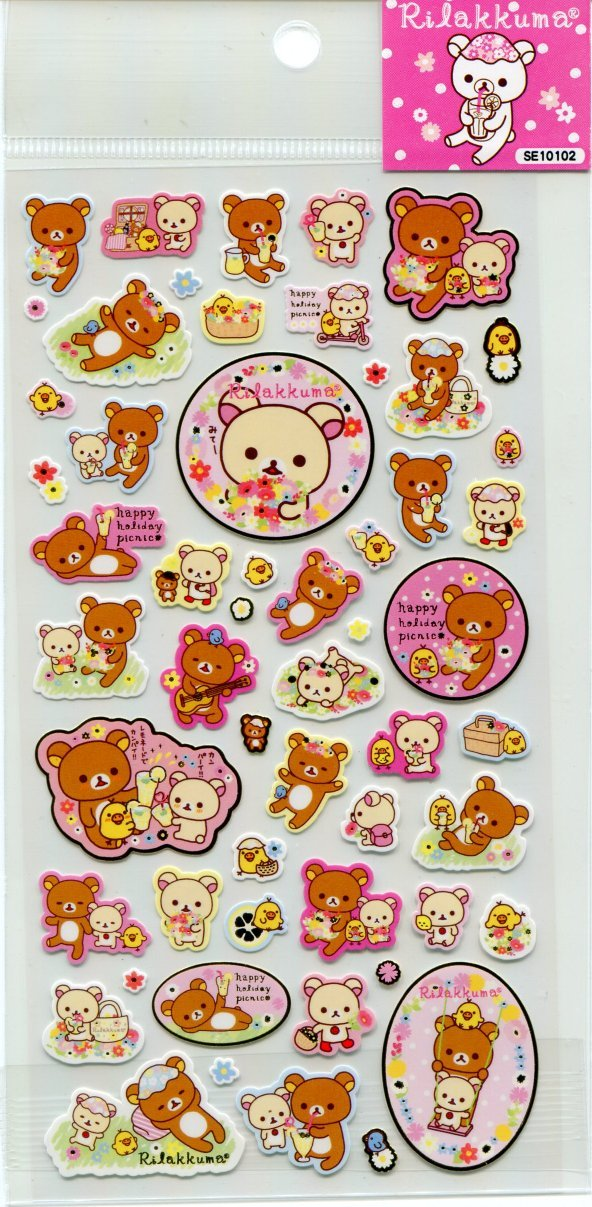 Image 0 of San-X Rilakkuma Relax Bear Sticker Sheet #19 (Happy Holiday Picnic) (I1275)