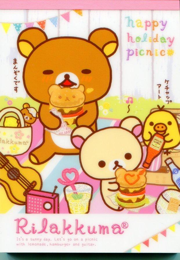Image 0 of San-X Rilakkuma Relax Bear 5 Design Memo Pad #13 (Happy Holiday Picnic) (M1107)
