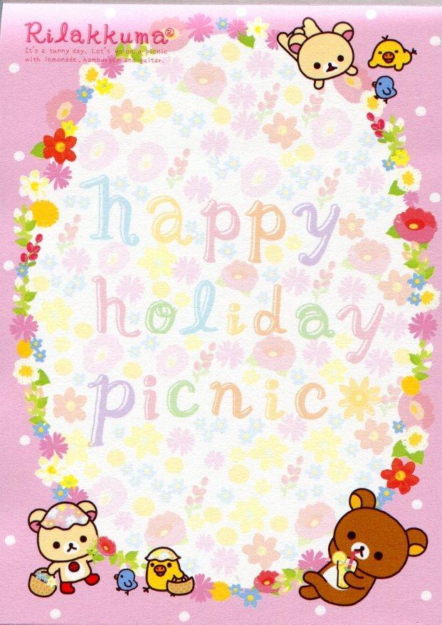 Image 3 of San-X Rilakkuma Relax Bear 5 Design Memo Pad #13 (Happy Holiday Picnic) (M1107)