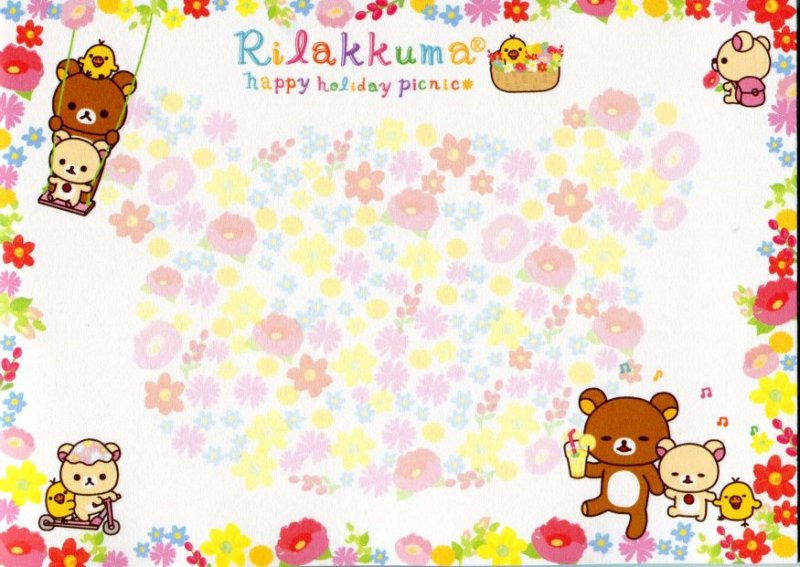 Image 5 of San-X Rilakkuma Relax Bear 5 Design Memo Pad #13 (Happy Holiday Picnic) (M1107)