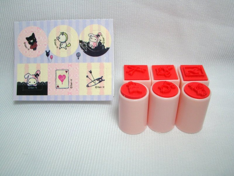 Image 7 of San-X Sentimental Circus 6 Stamps and Case Set #1 (SS0086)