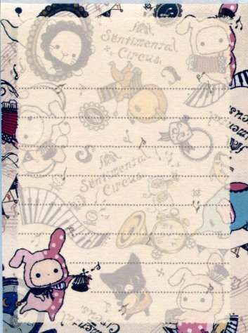 Image 2 of San-X Sentimental Circus 2 Design Mini Memo Pad #10 (M1118)