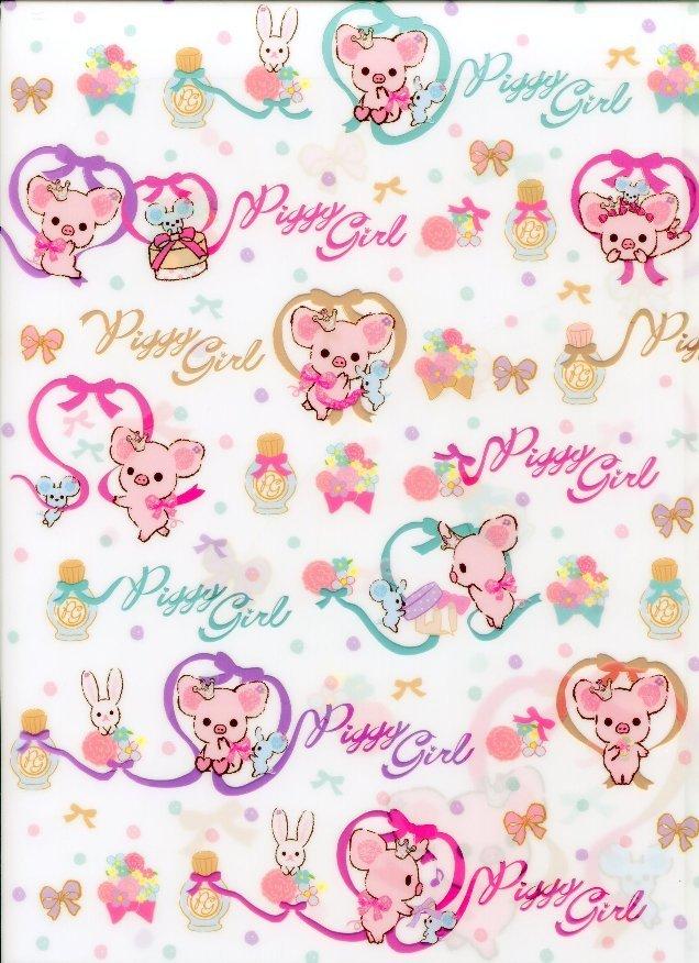 Image 0 of San-X Piggy Girl Pig 2 Pockets A4 Plastic File Folder #4