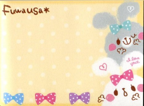 Image 2 of Kamio Fuwausa Rabbit 2 Design Mini Memo Pad #1 (M1191)
