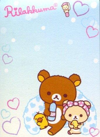 Image 1 of San-X Rilakkuma Relax Bear 2 Design Mini Memo Pad #39 (Bath Time) (M1196)