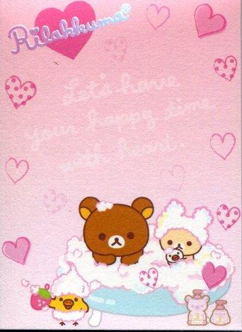 Image 1 of San-X Rilakkuma Relax Bear 2 Design Mini Memo Pad #40 (Bath Time) (M1197)