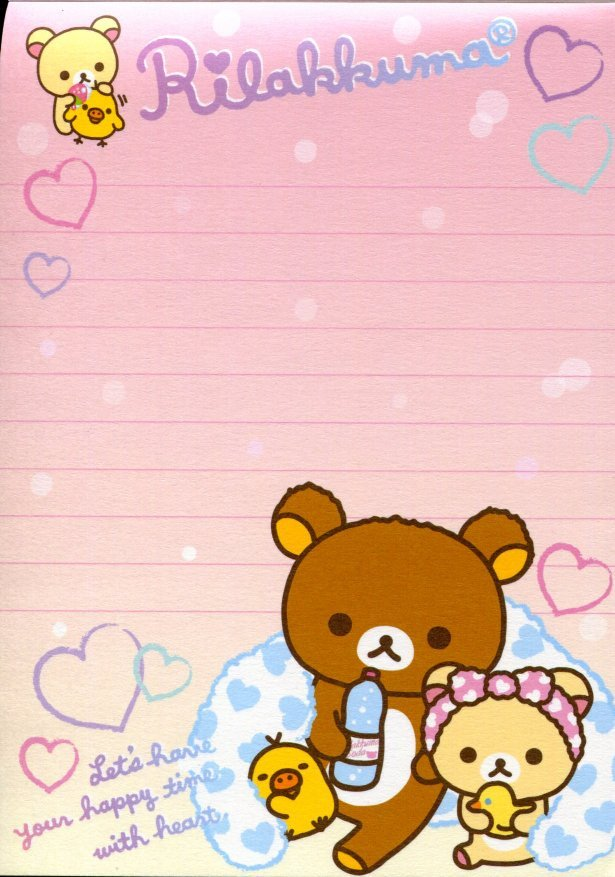 Image 4 of San-X Rilakkuma Relax Bear 5 Design Memo Pad #15 (Bath Time) (M1198)
