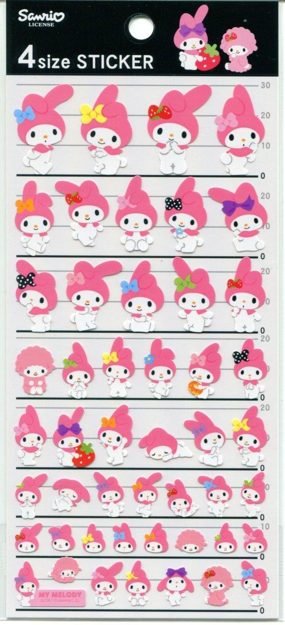 Image 0 of Sanrio My Melody 4 Size Sticker Sheet #1 (I1385)