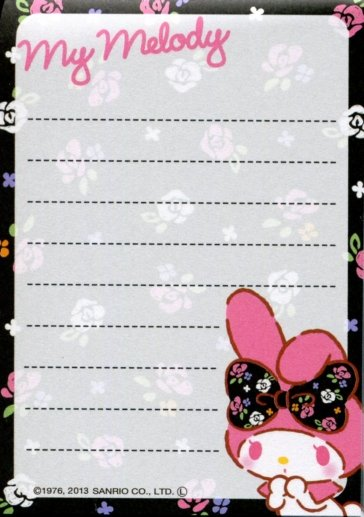 Image 1 of Sanrio My Melody 2 Design Mini Memo Pad #8 (M1227)