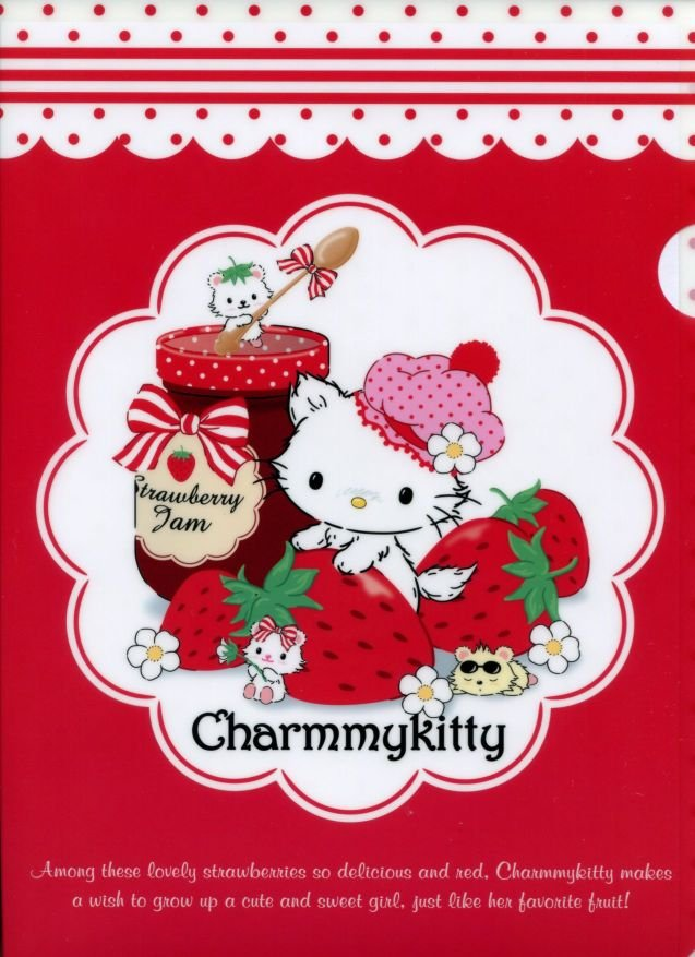 Image 0 of Sanrio Charmmy Kitty Strawberry A4 Plastic File Folder #2 (FF1120)