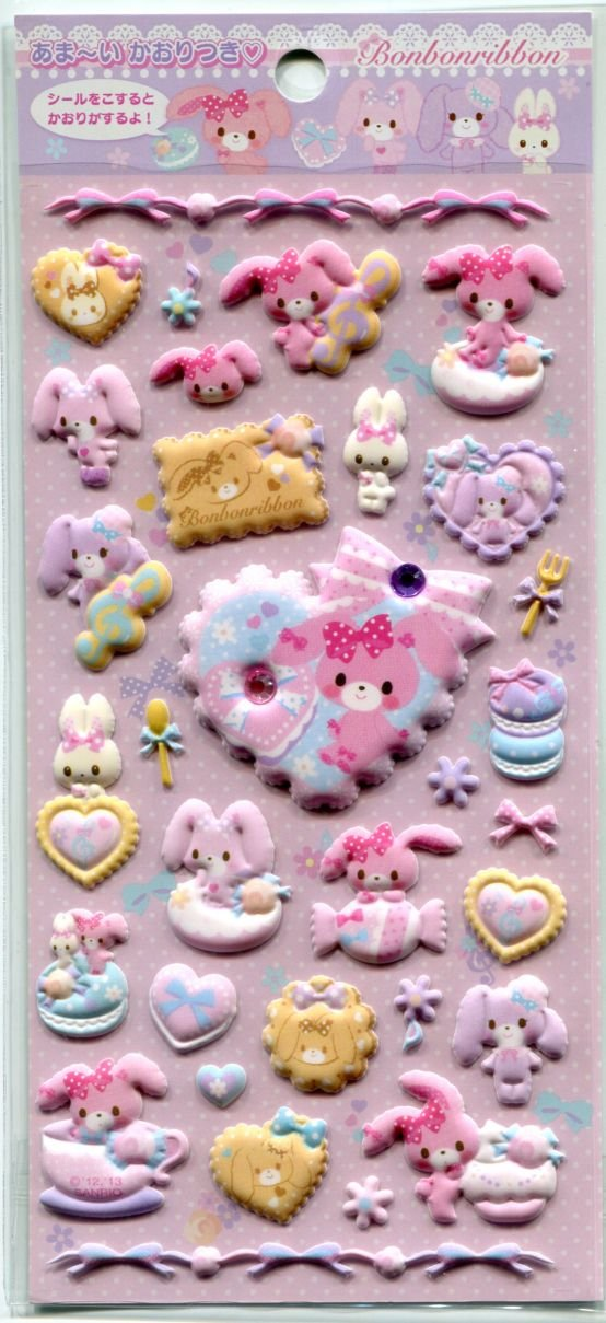 Image 0 of Sanrio Bonbonribbon Sweet Dessert Sponge Sticker Sheet #1 (I1402)