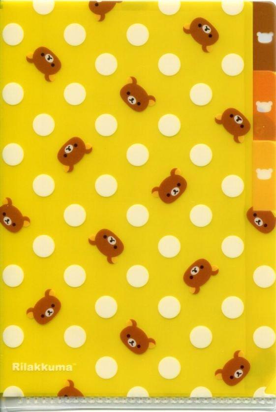 Image 0 of San-X Rilakkuma Bear Index 3 Pockets A6 Mini Plastic File Folder #13 (FF1136)