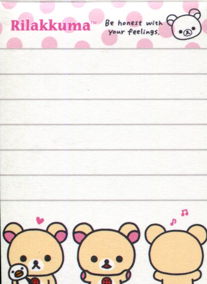 Image 2 of San-X Rilakkuma Relax Bear 2 Design Mini Memo Pad #52 (Rilakkuma Part 2) (M1272)
